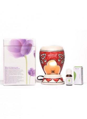 Aroma Treasures Electric Diffuser - Red Art with Lemon Grass Oil