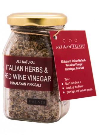 Artisan Palate Natural Italian Herbs and Red Wine Vinegar Himalayan Pink Salt (Pack of 2)