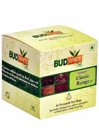 BudWhiteTeas Combo Pack of Tea in Classic Range Flavors (4x4 Tea Bags)