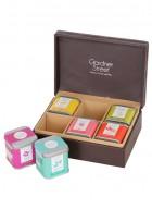 Gardner street Leather Tea Chest - 6 Tin Gift Box