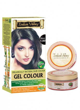 Indus Valley Organically Natural Gel Black 1.00 No Ammonia Hair Color with Light Day Cream