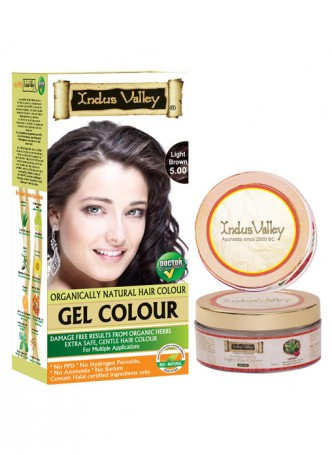 Indus Valley Organically Natural Gel Light Brown 5.0 Hair Color with Light Day Cream
