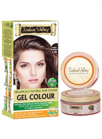 Indus Valley Organically Natural Gel Copper Mahogany 5.40 Hair Color with Light Day Cream