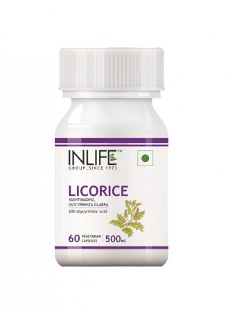 INLIFE Licorice Extract 500 mg - 60 Veg Capsules
