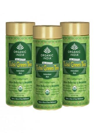Organic India Tulsi Green Tea - 100g Tin (Set of 3)