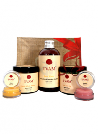 Tvam Gift Pack - Face Care (Face Wash, Scrub and Body Polisher, Aloe Vera Gel and 2 Lip Balms)